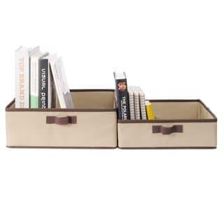 StorageManiac Set of 2 Nesting Storage Bins Folding Storage Baskets with Two Handles 1 Large and 1 Small