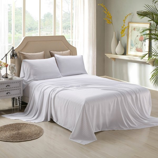 Honeymoon Satin Dobby Striped 4 Piece Bed Sheet Set