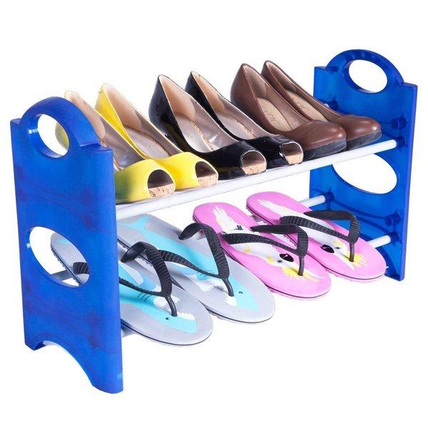 StorageManiac Stackable 2-Tier Shoe Rack Space-saving 6-Pair Shoe Storage Blue Pack of 2