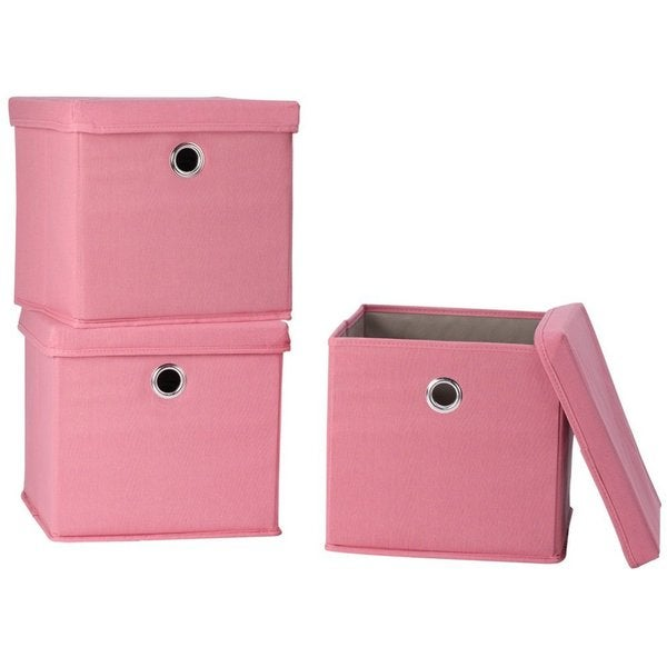 StorageManiac Canvas Storage Box with Lid Folding Lidded Storage Box with Built-in Grommet Handles Pack of 3