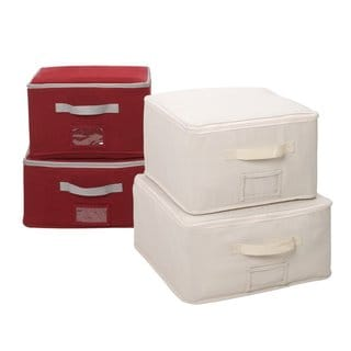 StorageManiac Set of 4 Canvas Storage Bags with Clear Window Pocket 2 Bags in Red and 2 Bags in Beige