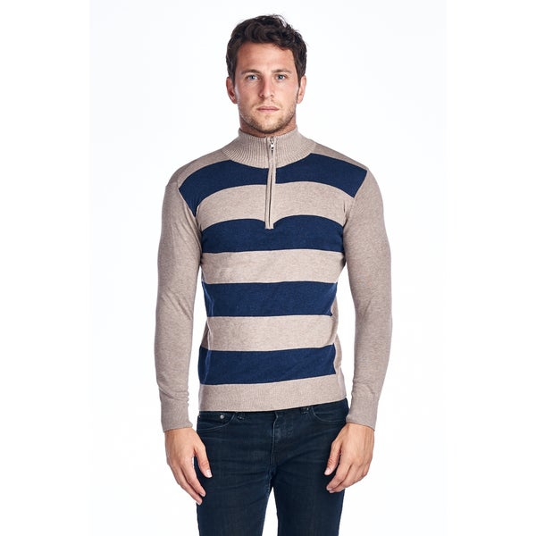 Men's Quarter Zip Blue Striped Sweater