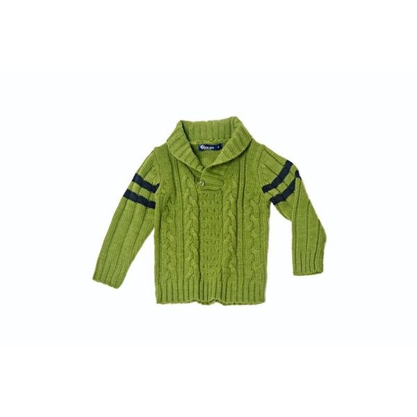 Girl's Green Knitted Button Sweater