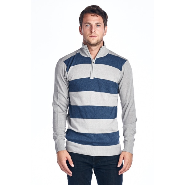 Mens Quarter Zip Striped Sweater MAX-01 NAVY/ GREY