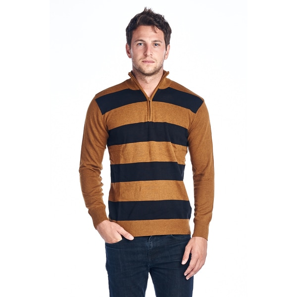 Mens Quarter Zip Striped Sweaters