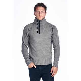 Men's Light Grey Button Turtle Neck Sweater
