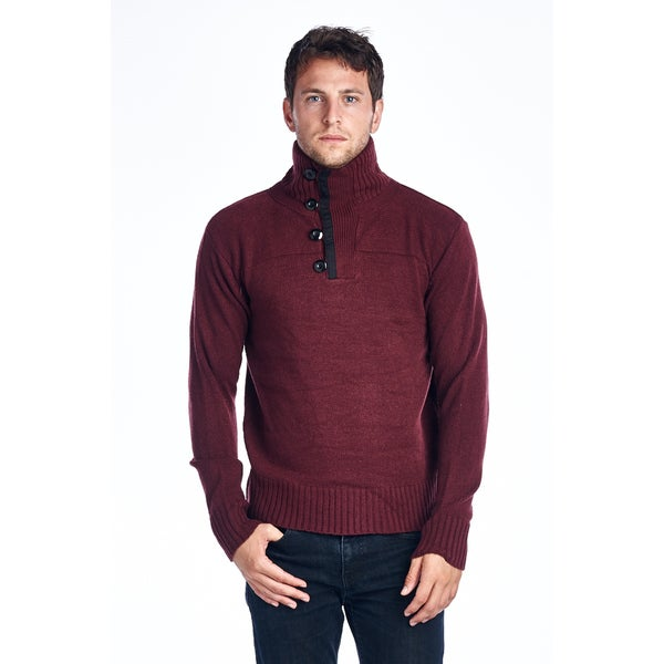 Men's Maroon Turtle Neck Cotton Sweater