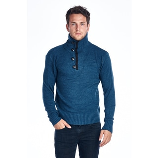 Men's Teal Button Down Turtle Neck Sweater