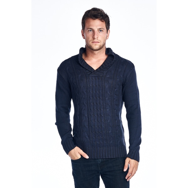Men's Navy Shawl-Collar Knit Sweater