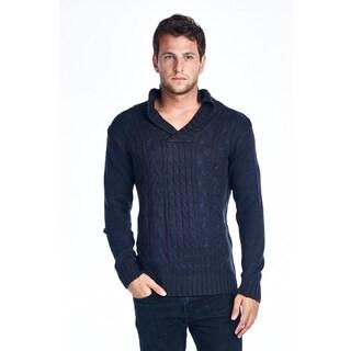 Men's Navy Shawl-Collar Knit Sweater