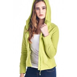 Womens fleece hoodies full zip 20121-LIME