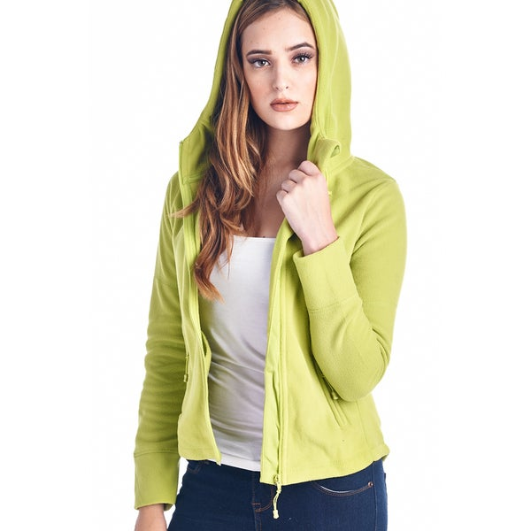 Womens fleece hoodies full zip 20121-LIME