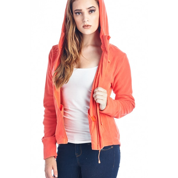 Womens Fleece Hoodies Full Zip 20121-CORAL