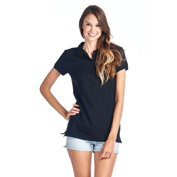 Women's Black Polo Collar Shirt