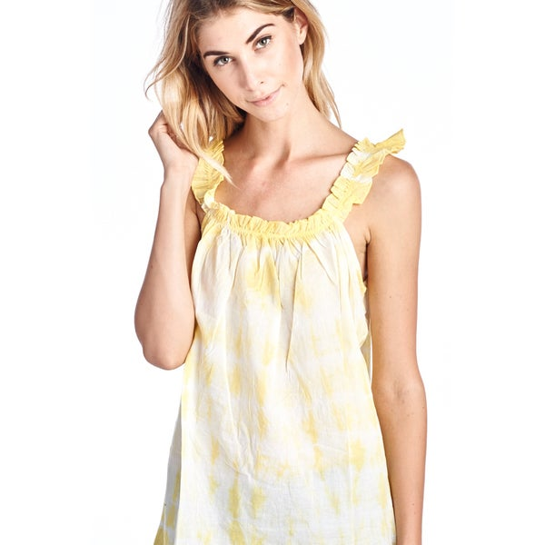 Women's Yellow Essential Ruffle Neck Tank Top