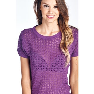 Women's Essential Purple Short Sleeve Knitted Top