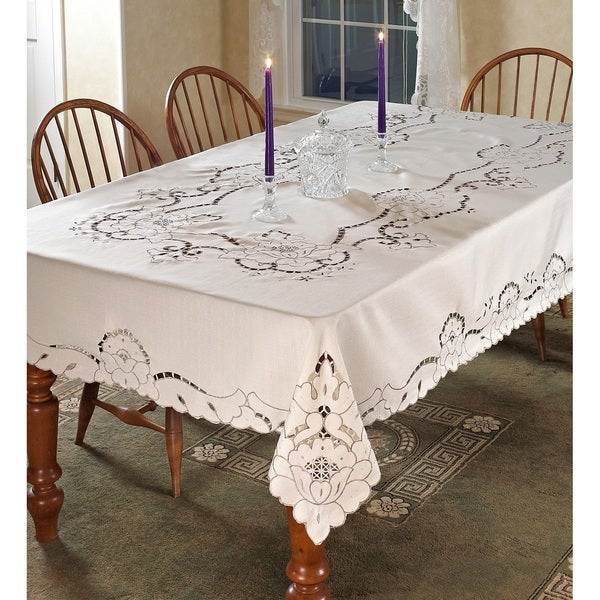Violet Linen Sapphire Embroidered Tablecloth