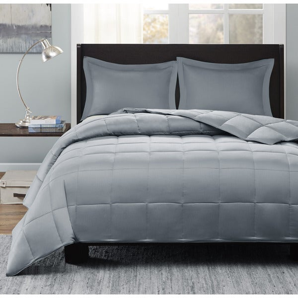 Sleep Philosophy Adrien Thinsulate Comforter Mini Set with 3M Scotchgard Treatment King Size in Grey (As Is Item)