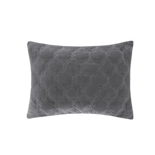 Madison Park Cotton Velvet Ogee Quilted Feather Down Filled Oblong Throw Pillow