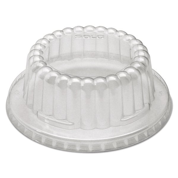 SOLO Cup Company Clear Flat-Top Dome PET Plastic Lids f/12 oz Containers (Pack of 1000)