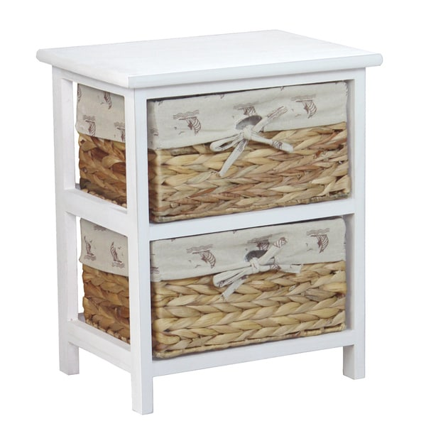 Nightstand Cabinet Chest with 2 Basket Drawers