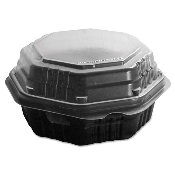 SOLO Cup Company OctaView Black/Clear Hinged-Lid HF Containers (Pack of 200)