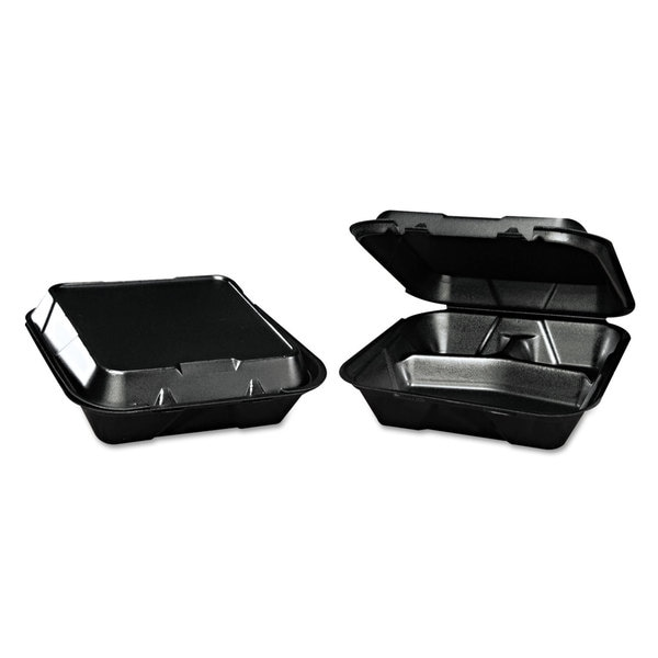 Genpak Snap-It Black Foam Hinged Containers (Pack of 200)