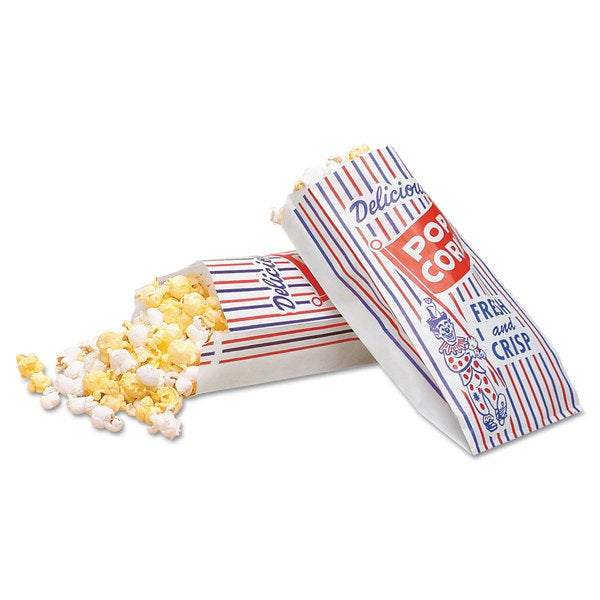 Bagcraft Papercon Blue/Red/White Pinch-Bottom Paper Popcorn Bags (Pack of 2000)