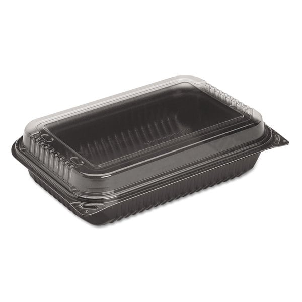 SOLO Cup Company Dinner Box, 1-Comp, Black/Clear, 64oz, 11 1/2w x 8.05d x 2.95h, 100/Carton 16474460