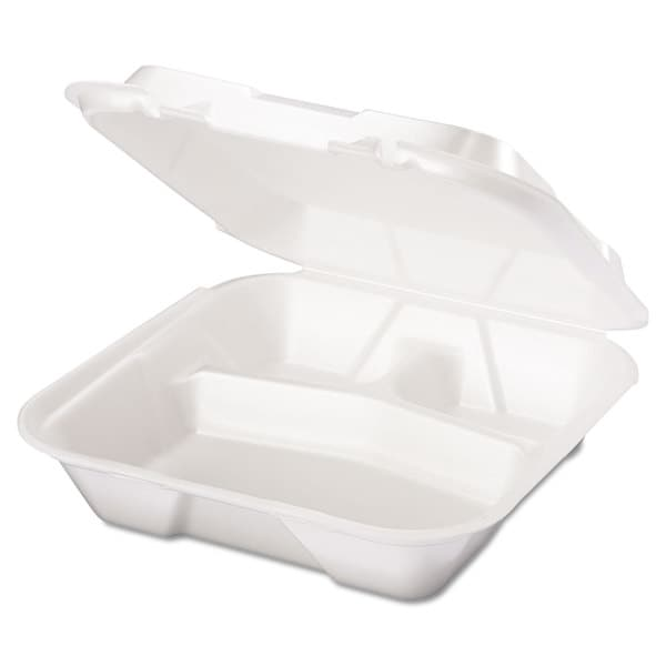 Genpak Snap It White Foam Containers (2 Packs of 100 Containers)