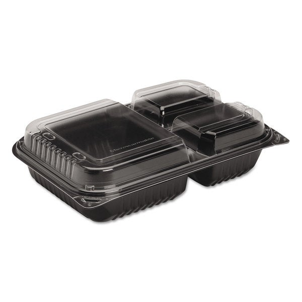 SOLO Cup Company Black/Clear Dinner Boxes (Pack of 100)