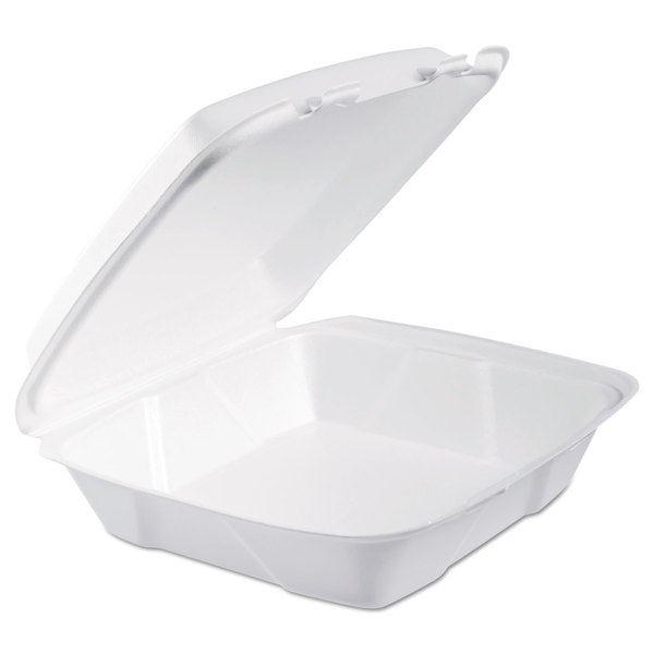 Dart White Foam Hinged Lid Containers (Pack of 200) 16474556