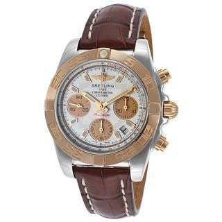 Breitling Men's CB014012-G713BS 'Chronomat 41' 18 Kt Rose Gold Chronograph Automatic Brown Leather Watch