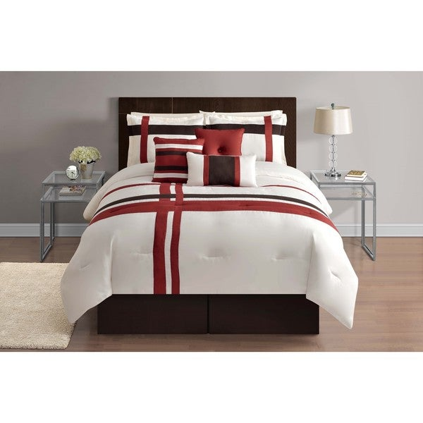 Red and Ivory Geometric 7-piece Comforter Set