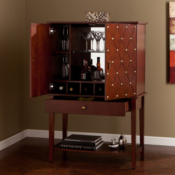 Liquor Cabinet Home Bar Mirrored Accent Furniture Brown Wine Bottle Storage Ebay