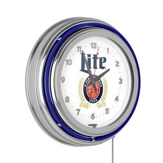 Miller Lite Chrome Double Rung Neon Clock - Retro Design