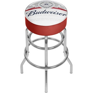 Budweiser Chrome Padded Bar Stool with Swivel - Label Design