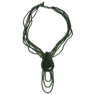 Hand-beaded Teardrop Semi-precious Stone Necklace (Guatemala)