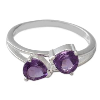 Handcrafted Sterling Silver 'Encounters' Amethyst Ring (India)