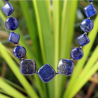 Handcrafted Lapis Lazuli Forever Blue Curb Chain Style Necklace (Thailand)