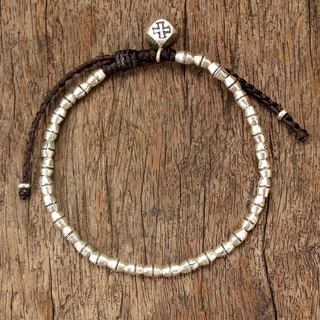 Handcrafted Silver 'Hill Tribe Cross' Bracelet (Thailand)