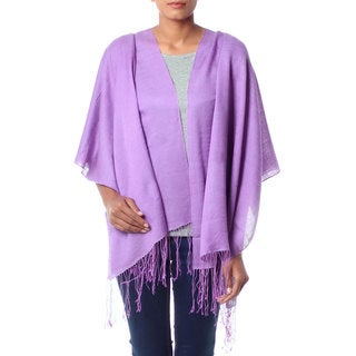 Handcrafted Silk Wool 'Lavender Orchid' Shawl (India)