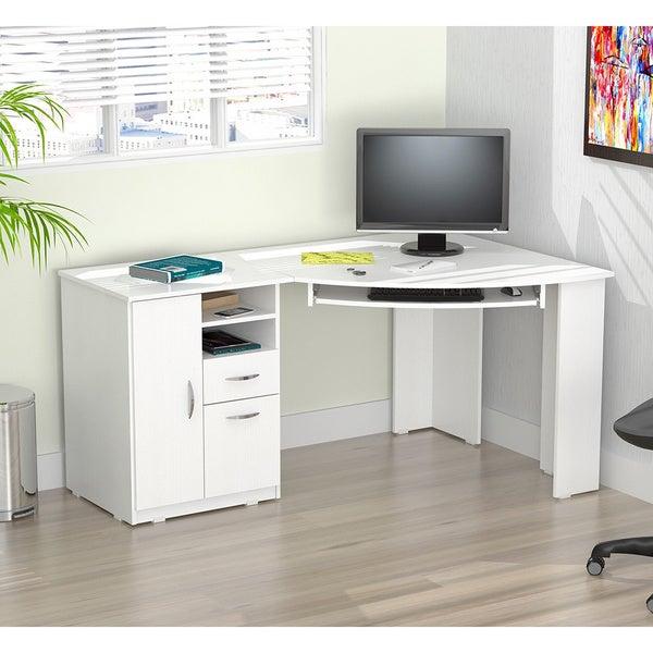 Inval Laricina White Corner Desk 17740651 Overstock