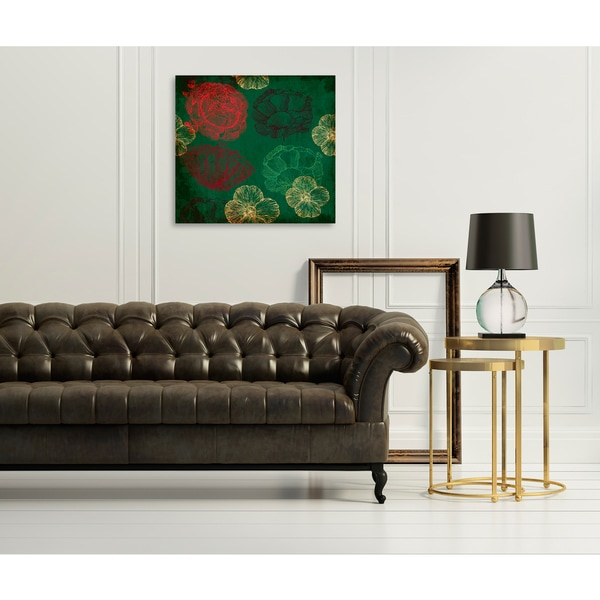 Dark floral background with texture Print on Birchwood Wall Art