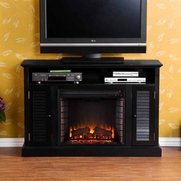Upton Home Herschel Black Media Electric Fireplace