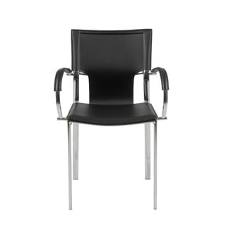 Vinnie Black Leather/ Chrome Arm Chairs (Set of 2)