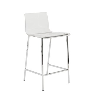 Chloe-c Clear/ Chrome Counter Stools (Set of 2)