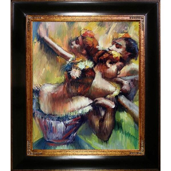 Edgar Degas 'Four Dancers' Hand Painted Framed Canvas Art