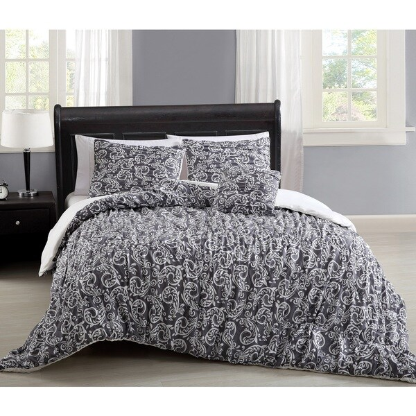 Carmelle Grey and White 4-piece Comforter Set