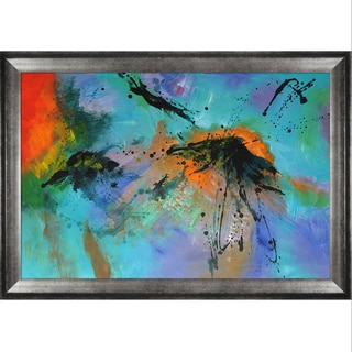 Pol Ledent 'Abstract 96532' Hand Painted Framed Canvas Art